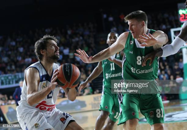 Luke Harangody of Darussafaka Dogus in action against Anthony Randolph of Real Madrid during the Turkish Airlines EuroLeague Playoffs quarterfinal...