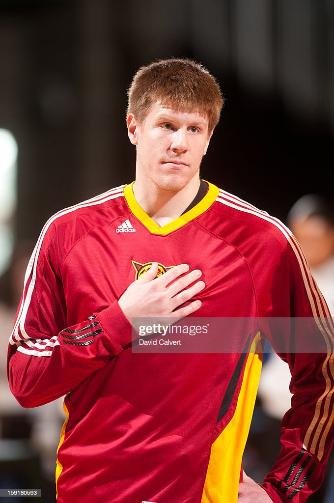 Luke Harangody #22 of the Fort Wayne Mad Ants during the National Anthem before playing the Rio Grande Valley Vipers during the 2013 NBA D-League Showcase on January 9, 2013 at the Reno Events Center in Reno, Nevada.