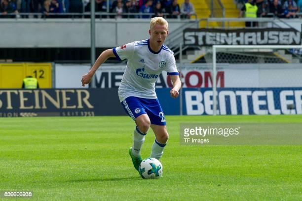 Luke Hemmerich of Schalke controls the ball during the preseason friendly match between SC Paderborn and FC Schalke 04 at BentelerArena on July 15...