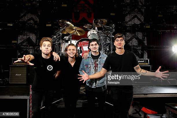 Luke Hemmings Ashton Irwin Michael Clifford and Calum Hood of Australian band '5 Seconds of Summer' pictured before their concert at Allphones Arena...