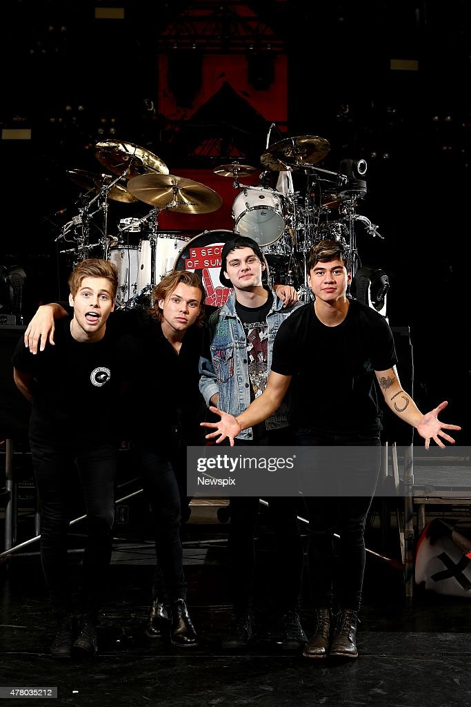 Luke Hemmings, Ashton Irwin, Michael Clifford and Calum Hood of Australian band '5 Seconds of Summer' (5SOS) pictured before their concert at Allphones Arena in Sydney, New South Wales.