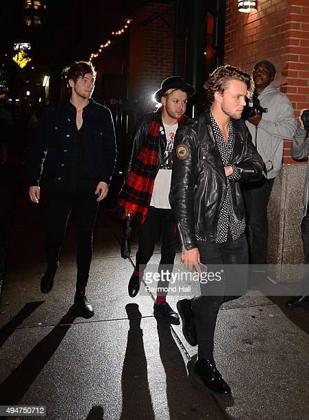 Luke Hemmings Calum Hood Ashton Irwin of 5 Seconds of Summer are seen arriving at Kendall Jenner's apartment in Soho on October 28 2015 in New York...