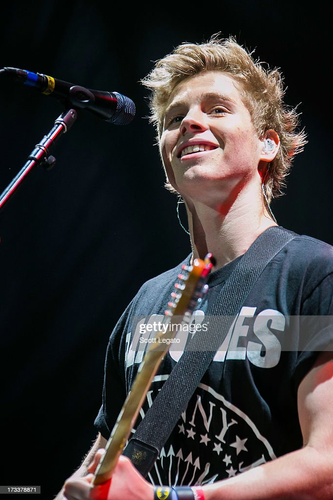 Luke Hemmings of 5 Seconds of Summer performs at The Palace of Auburn Hills on July 12, 2013 in Auburn Hills, Michigan.