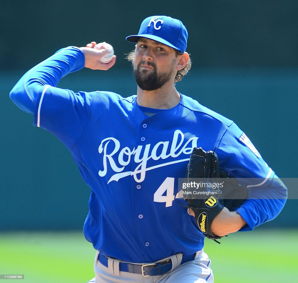 Luke Hochevar #44 of the Kansas City Royals pitches against the Detroit Tigers during the game at Comerica Park on April 10, 2011 in Detroit, Michigan. The Royals defeated the Tigers 9-5.