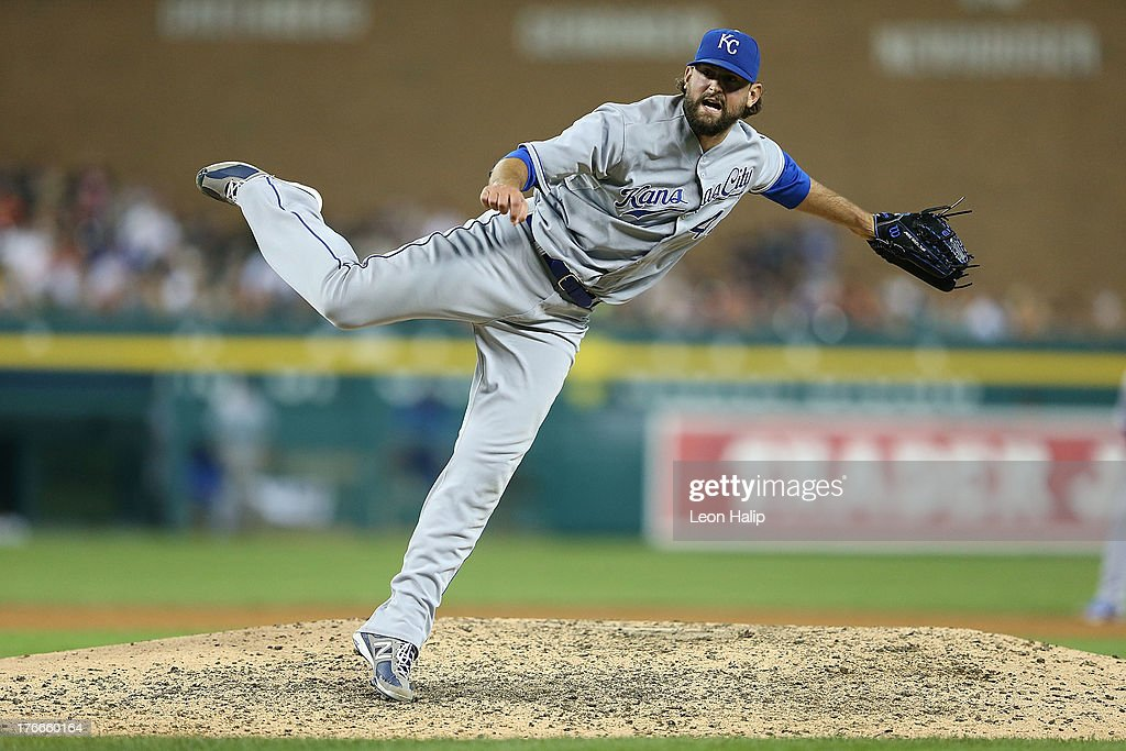 <a gi-track='captionPersonalityLinkClicked' href=/galleries/search?phrase=Luke+Hochevar&family=editorial&specificpeople=4167949 ng-click='$event.stopPropagation()'>Luke Hochevar</a> #44 of the Kansas City Royals pitches in the eighth inning of game two of the double header against the Detroit Tigers at Comerica Park on August 16, 2013 in Detroit, Michigan.