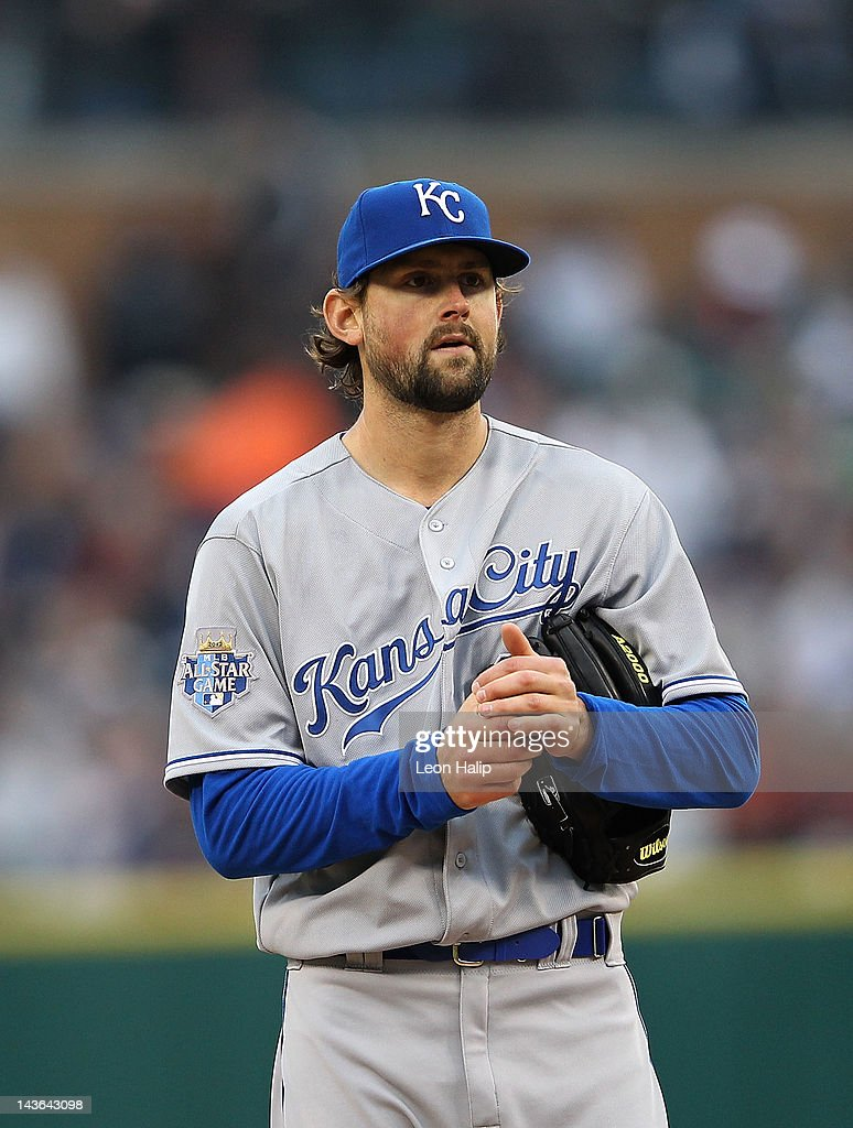 <a gi-track='captionPersonalityLinkClicked' href=/galleries/search?phrase=Luke+Hochevar&family=editorial&specificpeople=4167949 ng-click='$event.stopPropagation()'>Luke Hochevar</a> #44 of the Kansas CIty Royals reacts after giving up three runs in the first inning during the game against the Detroit Tigers at Comerica Park on May 1, 2012 in Detroit, Michigan.
