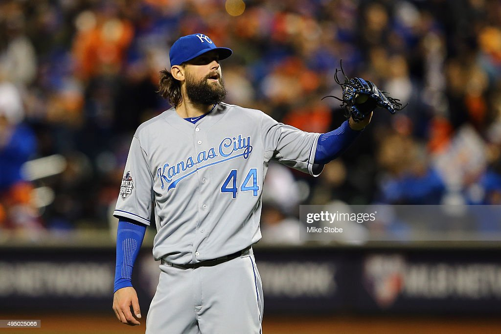 <a gi-track='captionPersonalityLinkClicked' href=/galleries/search?phrase=Luke+Hochevar&family=editorial&specificpeople=4167949 ng-click='$event.stopPropagation()'>Luke Hochevar</a> #44 of the Kansas City Royals reacts against the New York Mets during Game Three of the 2015 World Series at Citi Field on October 30, 2015 in the Flushing neighborhood of the Queens borough of New York City.
