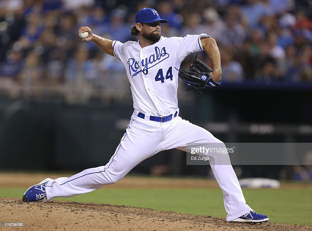 <a gi-track='captionPersonalityLinkClicked' href=/galleries/search?phrase=Luke+Hochevar&family=editorial&specificpeople=4167949 ng-click='$event.stopPropagation()'>Luke Hochevar</a> #44 of the Kansas City Royals throws in the eighth inning during a game against the Baltimore Orioles at Kauffman Stadium on July 22, 2013 in Kansas City, Missouri.
