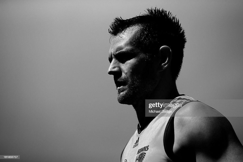 <a gi-track='captionPersonalityLinkClicked' href=/galleries/search?phrase=Luke+Hodge&family=editorial&specificpeople=241521 ng-click='$event.stopPropagation()'>Luke Hodge</a> looks ahead during a Hawthorn Hawks AFL training session at Waverley Park on September 26, 2013 in Melbourne, Australia.
