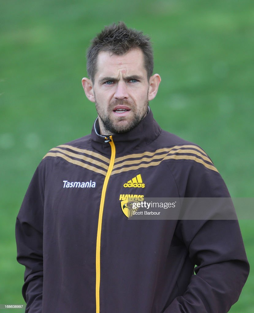 Luke Hodge of the Hawks arrives to speak to the media during a Hawthorn Hawks AFL training session at Waverley Park on May 13, 2013 in Melbourne, Australia.