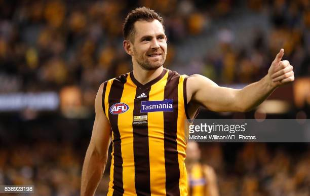 Luke Hodge of the Hawks celebrates during the 2017 AFL round 23 match between the Hawthorn Hawks and the Western Bulldogs at Etihad Stadium on August...