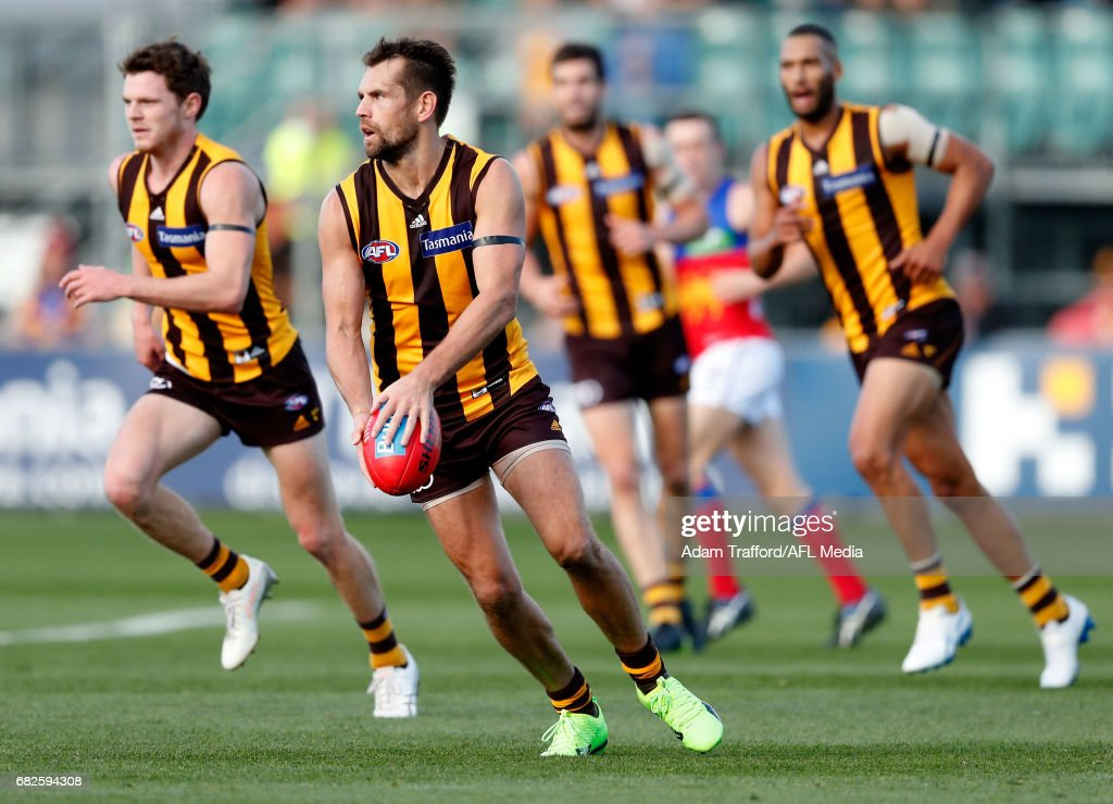 Luke Hodge of the Hawks in action during the 2017 AFL round 08 match between the Hawthorn Hawks and the Brisbane Lions at the University of Tasmania Stadium on May 13, 2017 in Launceston, Australia.