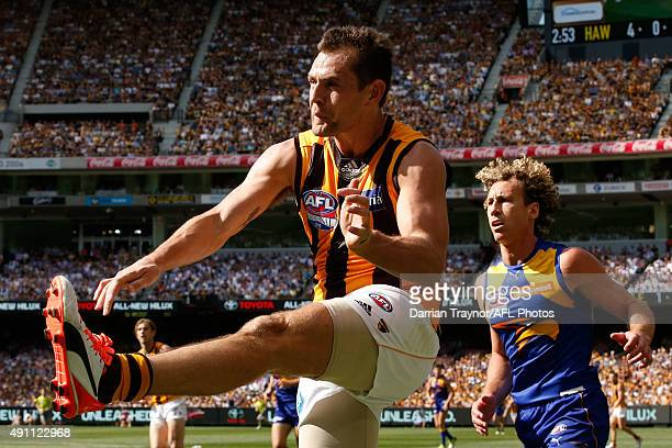 Luke Hodge of the Hawks kicks the ball during the 2015 AFL Grand Final match between the Hawthorn Hawks and the West Coast Eagles at Melbourne...