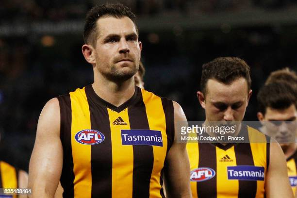 Luke Hodge of the Hawks looks dejected ater defeat during the round 22 AFL match between the Carlton Blues and the Hawthorn Hawks at Etihad Stadium...
