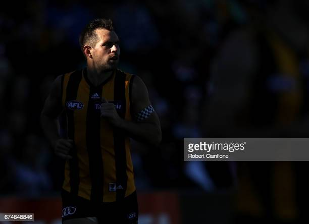 Luke Hodge of the Hawks looks on during the round six AFL match between the Hawthorn Hawks and the St Kilda Saints at University of Tasmania Stadium...
