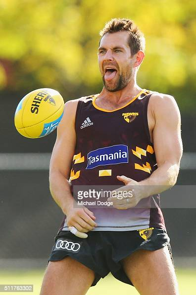 Luke Hodge of the Hawks reacts during a Hawthorn Hawks AFL training session at Waverley Park on February 23 2016 in Melbourne Australia