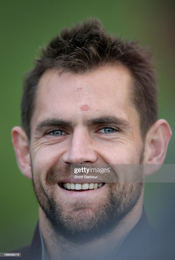Luke Hodge of the Hawks speaks to the media during a Hawthorn Hawks AFL training session at Waverley Park on May 13, 2013 in Melbourne, Australia.