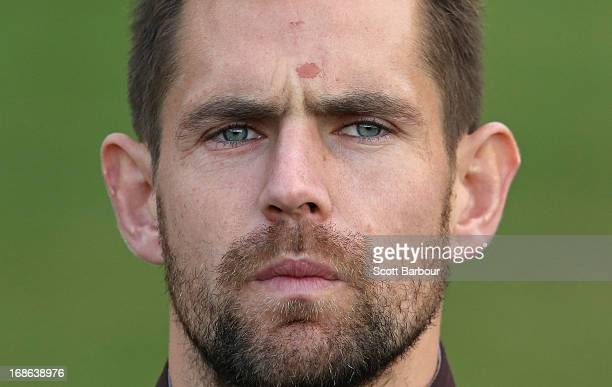 Luke Hodge of the Hawks speaks to the media during a Hawthorn Hawks AFL training session at Waverley Park on May 13 2013 in Melbourne Australia