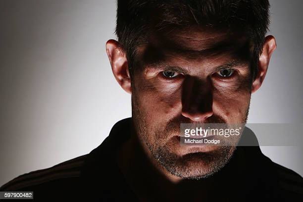 Luke Hodge of the Hawthorn Hawks poses during an AFL Finals media opportunity at Fox Studios on August 30 2016 in Melbourne Australia