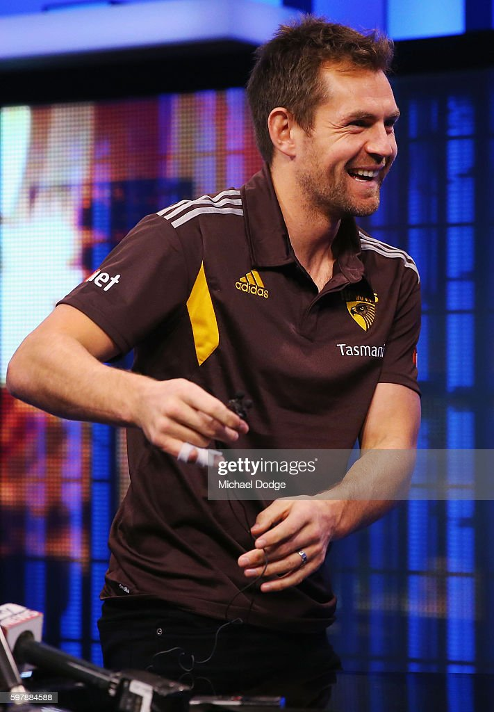 Luke Hodge of the Hawthorn reacts during an AFL Finals media opportunity at Fox Studios on August 30 2016 in Melbourne Australia