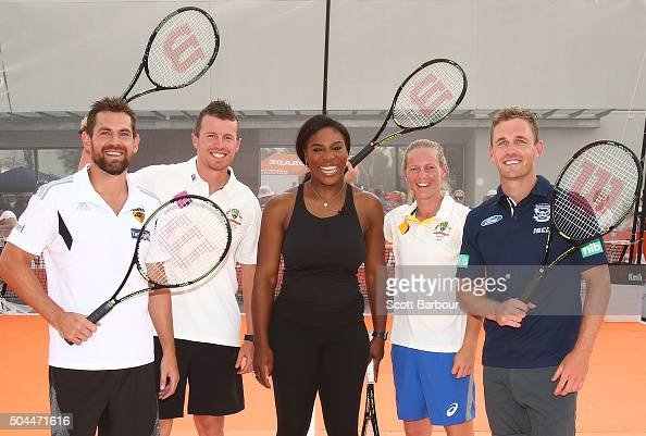 Luke Hodge Peter Siddle Meg Lanning and Joel Selwood pose with Serena Williams during a Gatorade activation at Ashwood Woolworths on January 11 2016...