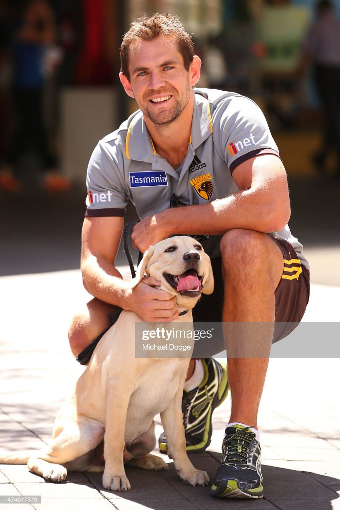 <a gi-track='captionPersonalityLinkClicked' href=/galleries/search?phrase=Luke+Hodge&family=editorial&specificpeople=241521 ng-click='$event.stopPropagation()'>Luke Hodge</a> poses for the Guide Dogs Tasmania 'Take the Lead' campaign launch during the Hawthorn Hawks AFL Community Camp on February 22, 2014 in Launceston, Australia.