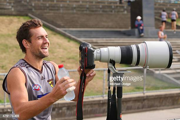 Luke Hodge takes a look at a camera during a Hawthorn Hawks AFL training session at Waverley Park on March 17 2014 in Melbourne Australia