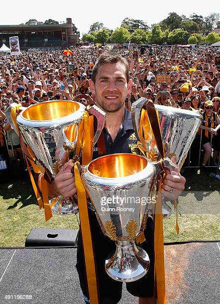 Luke Hodge the captian of the Hawks poses with the 2013 2014 and 2015 premiership trophies during the Hawthorn Hawks AFL Grand Final fan day at...