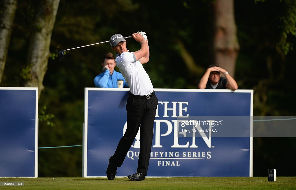 Luke Jackson of Lindrick plays his first shot on the 1st tee during the Open Championship Qualifying - Woburn at Woburn Golf Club on June 28, 2016 in Woburn, England.
