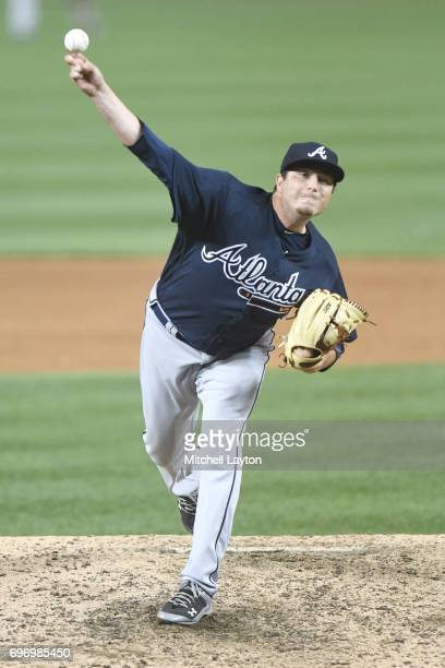 Luke Jackson of the Atlanta Braves pitches during a baseball game against the Washington Nationals at Nationals Park on June 13 2017 in Washington DC...