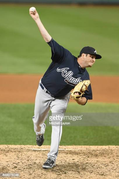 Luke Jackson of the Atlanta Braves pitches during a baseball game against the Washington Nationals at Nationals Park on September12 2017 in...