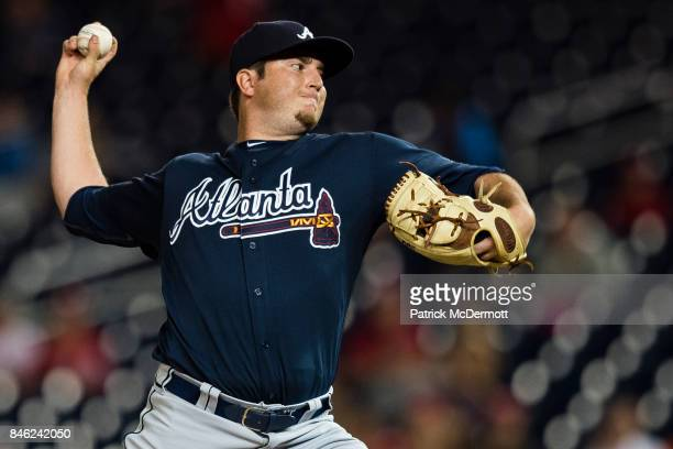 Luke Jackson of the Atlanta Braves throws a pitch to a Washington Nationals batter in the ninth inning at Nationals Park on September 12 2017 in...
