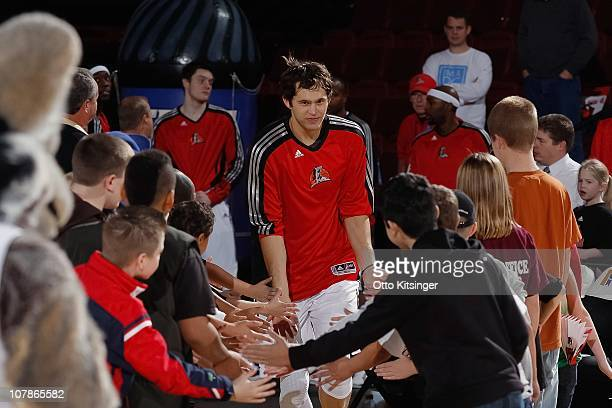 Luke Jackson of the Idaho Stampede greets fans before a game against the Utah Flash on December 11 2010 at Qwest Arena in Boise Idaho NOTE TO USER...