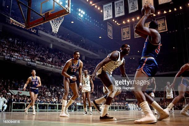 Luke Jackson of the Philadelphia 76ers passes against the Boston Celtics circa 1967 at the Boston Garden in Boston Massachusetts NOTE TO USER User...