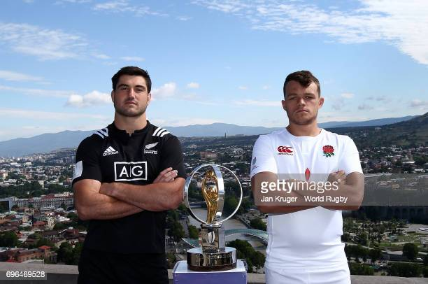 Luke Jacobson of New Zealand and Zach Mercer of England poses with the trophy during the World Rugby U20 Championship Final captain's photocall on...