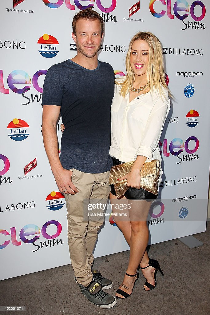 Luke Jacobz and Katie Hansen arrives at the 2013 CLEO Swim Party at The Bucket List on November 26, 2013 in Sydney, Australia.