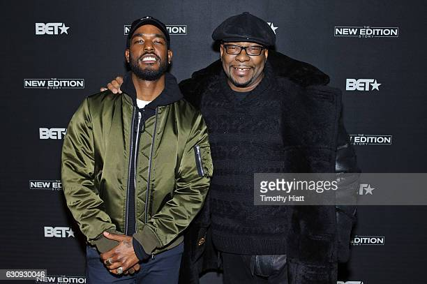 Luke James and Bobby Brown attend BET's screening of The New Edition Story on January 3 2017 in Chicago Illinois