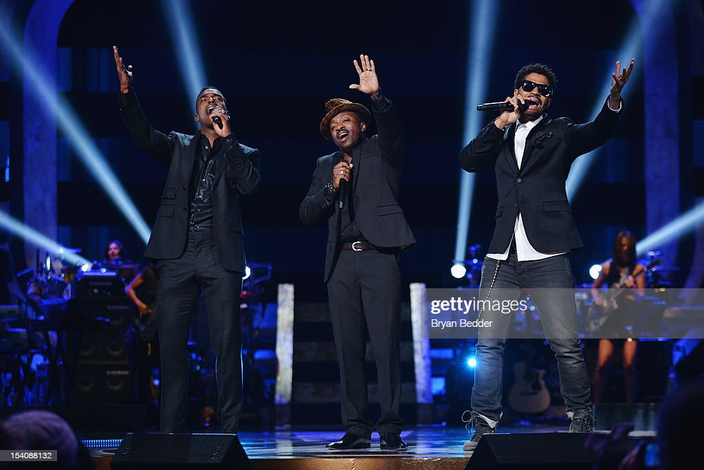 Luke James, Anthony Hamilton, and <a gi-track='captionPersonalityLinkClicked' href=/galleries/search?phrase=Eric+Benet&family=editorial&specificpeople=778854 ng-click='$event.stopPropagation()'>Eric Benet</a> perform onstage at BET's Black Girls Rock 2012 at Paradise Theater on October 13, 2012 in New York City.