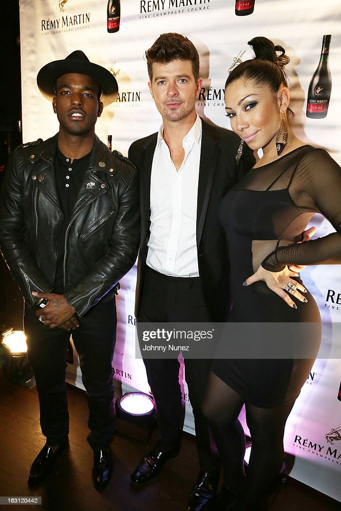 Luke James, Robin Thicke and Bridget Kelly attend the Remy Martin V.S.O.P Ringleader Culmination Event with Robin Thicke at Marquee on March 4, 2013 in New York City.