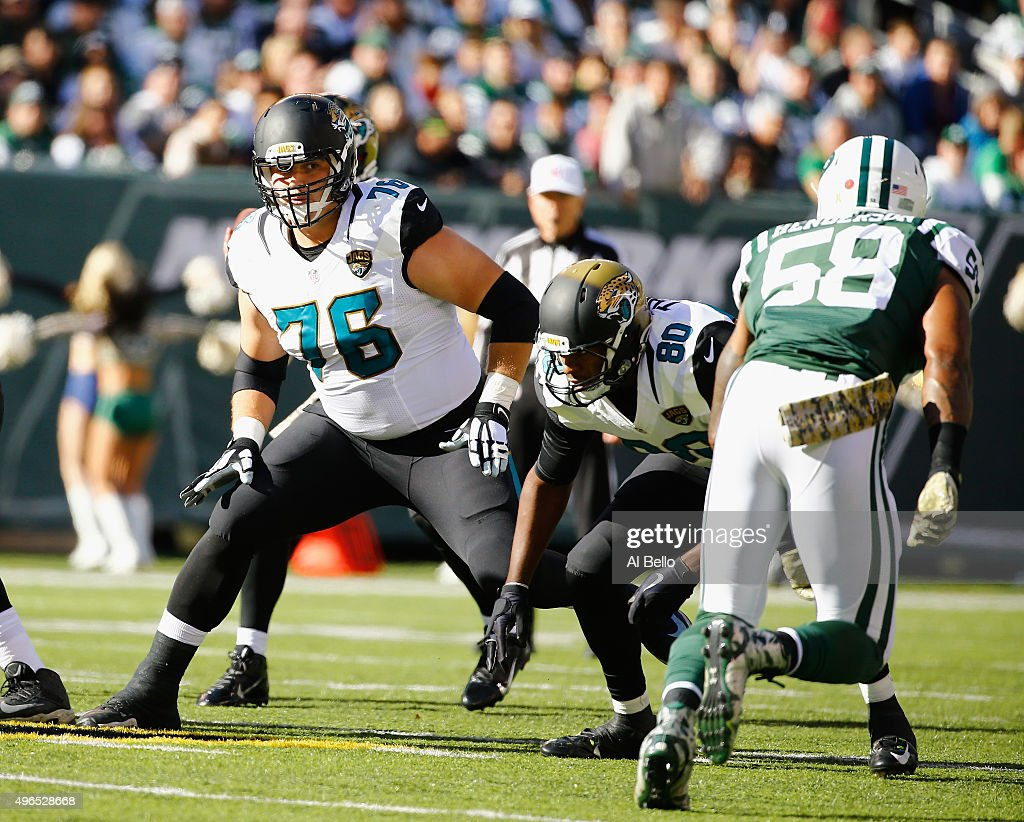 <a gi-track='captionPersonalityLinkClicked' href=/galleries/search?phrase=Luke+Joeckel&family=editorial&specificpeople=7415529 ng-click='$event.stopPropagation()'>Luke Joeckel</a> #76 of the Jacksonville Jaguars defends against <a gi-track='captionPersonalityLinkClicked' href=/galleries/search?phrase=Erin+Henderson&family=editorial&specificpeople=4142874 ng-click='$event.stopPropagation()'>Erin Henderson</a> #58 of the New York Jets during their game at MetLife Stadium on November 8, 2015 in East Rutherford, New Jersey.