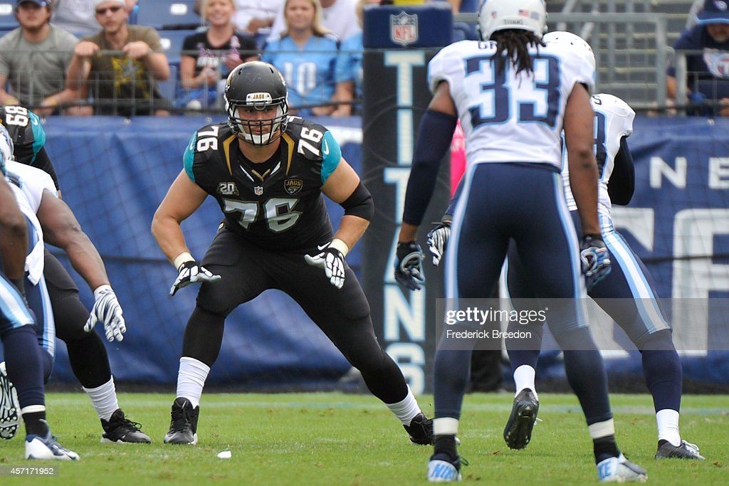 <a gi-track='captionPersonalityLinkClicked' href=/galleries/search?phrase=Luke+Joeckel&family=editorial&specificpeople=7415529 ng-click='$event.stopPropagation()'>Luke Joeckel</a> #76 of the Jacksonville Jaguars plays against the Tennessee Titans at LP Field on October 12, 2014 in Nashville, Tennessee.