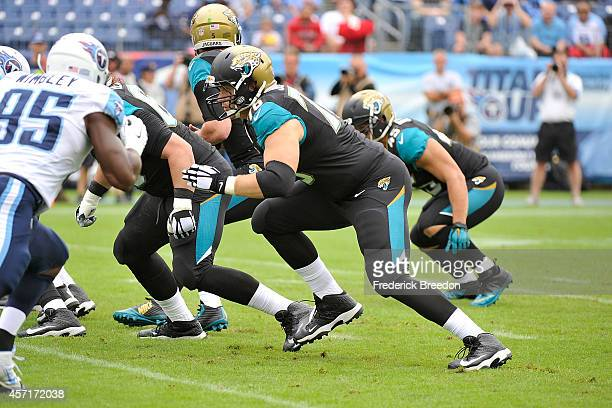 Luke Joeckel of the Jacksonville Jaguars plays against the Tennessee Titans at LP Field on October 12 2014 in Nashville Tennessee