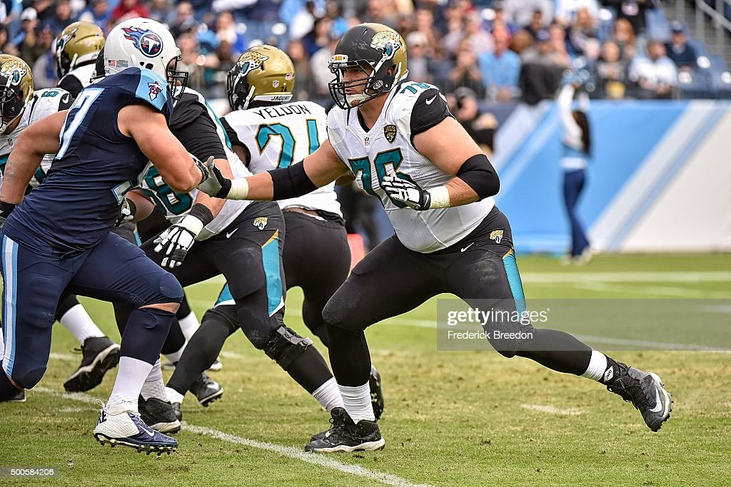 <a gi-track='captionPersonalityLinkClicked' href=/galleries/search?phrase=Luke+Joeckel&family=editorial&specificpeople=7415529 ng-click='$event.stopPropagation()'>Luke Joeckel</a> #76 of the Jacksonville Jaguars plays against the Tennessee Titans at Nissan Stadium on December 6, 2015 in Nashville, Tennessee.