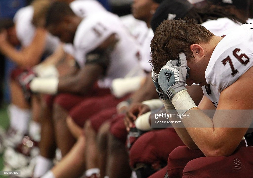 Luke Joeckel #76 of the Texas A&M Aggies reacts during a loss against the Arkansas Razorbacks at Cowboys Stadium on October 1, 2011 in Arlington, Texas.