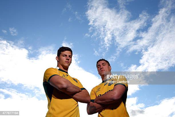 Luke Jones and Sean McMahon of the Wallabies pose for a portrait after an ARU press conference at AAMI Park on June 19 2015 in Melbourne Australia