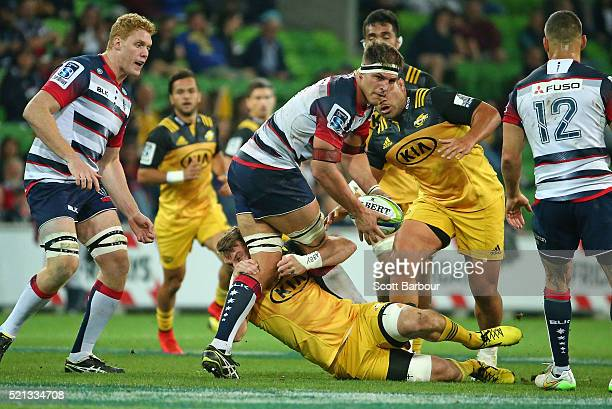 Luke Jones of the Rebels runs with the ball during the round eight Super Rugby match between the Rebels and the Hurricanes at AAMI Park on April 15...