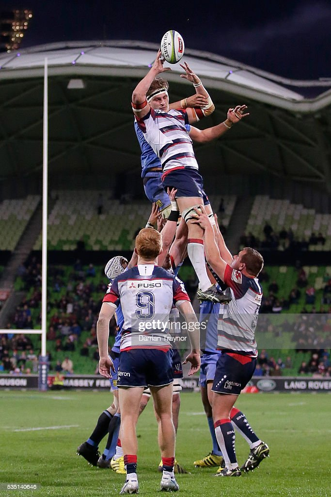 <a gi-track='captionPersonalityLinkClicked' href=/galleries/search?phrase=Luke+Jones+-+Rugby+Union+Player&family=editorial&specificpeople=15458039 ng-click='$event.stopPropagation()'>Luke Jones</a> of the Rebels takes the ball from a line out during the round 14 Super Rugby match between the Rebels and the Force at AAMI Park on May 29, 2016 in Melbourne, Australia.
