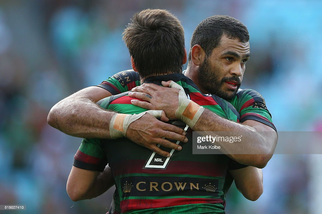 Luke Keary and Greg Inglis of the Rabbitohs celebrate Keary scoring a try during the round two NRL match between the South Sydney Rabbitohs and the Newcastle Knights at ANZ Stadium on March 12, 2016 in Sydney, Australia.