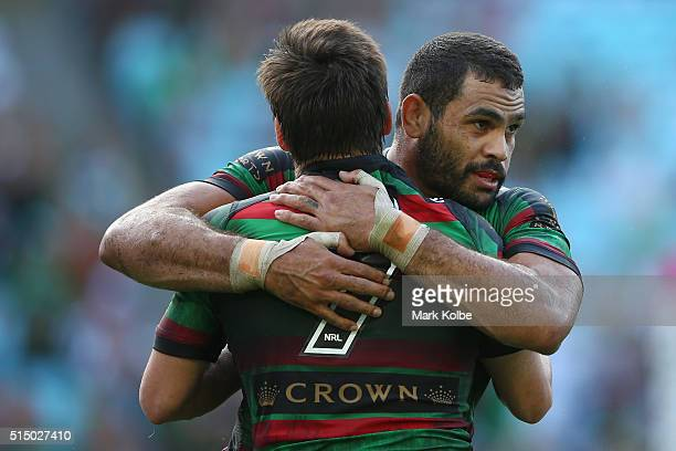 Luke Keary and Greg Inglis of the Rabbitohs celebrate Keary scoring a try during the round two NRL match between the South Sydney Rabbitohs and the...