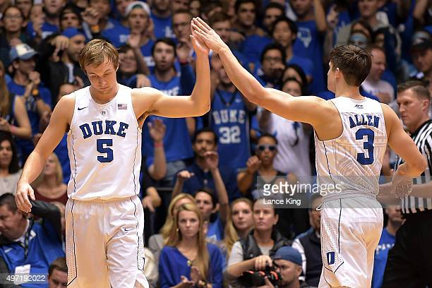 Luke Kennard highfives Grayson Allen of the Duke Blue Devils following a play against the Bryant Bulldogs at Cameron Indoor Stadium on November 14...